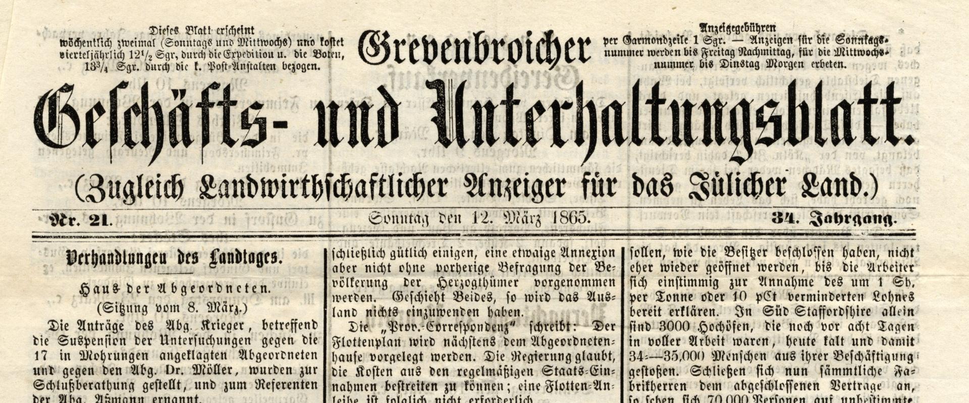 Geschäfts- und Unterhaltungsblatt 1865 (Sammlung Larisch)